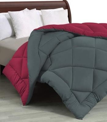 Beta Divine Solid Double Comforter(Microfiber, Maroon, Grey)