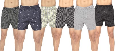 BSTORIES Printed, Checkered Men Boxer(Pack of 6)