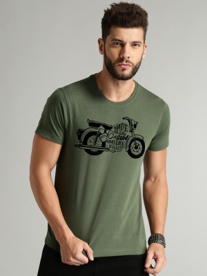 Wildster Printed Men Round Neck Green T-Shirt