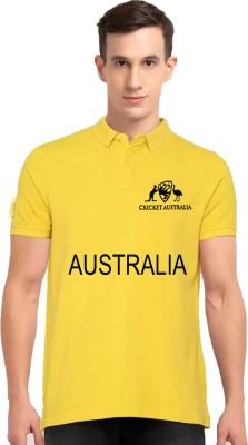 TREBBO Printed Men Polo Neck Yellow T-Shirt