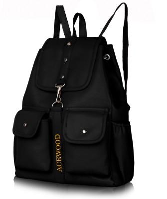 MUSRAT PU Leather Backpack School Bag Student Backpack Women Travel bag 10 L Backpack 10 L Backpack(Black)