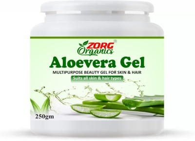 Zorg Organics Pure Natural Aloe Vera Gel (250 Gram ) - Ideal for Skin Treatment, Face, Acne Scars, Hair Treatment(250...