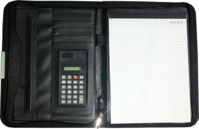 Greeshma Leather GR Leather Conference Folder (Digit Mini Calculator A4 Ruled Writing Pad)(Set Of 1, Black)