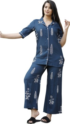 CTMTEX Women Printed Blue Night Suit Set