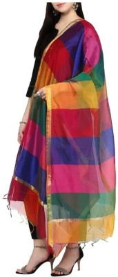 Star Handloom Poly Chanderi Striped Women Dupatta