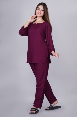 Bachuu Women Solid Purple Night Suit Set