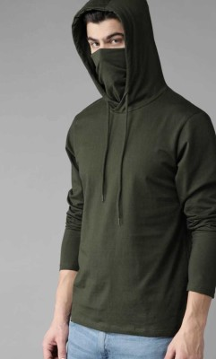 The Fashionplus Solid Men Hooded Neck Dark Green T-Shirt