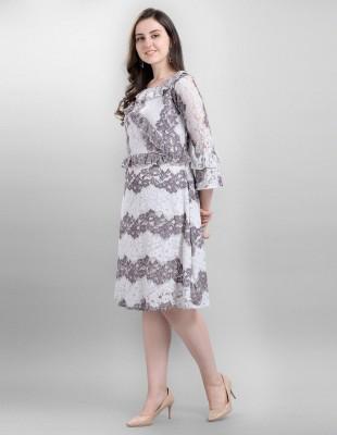 Selvia Women A-line Grey, White Dress