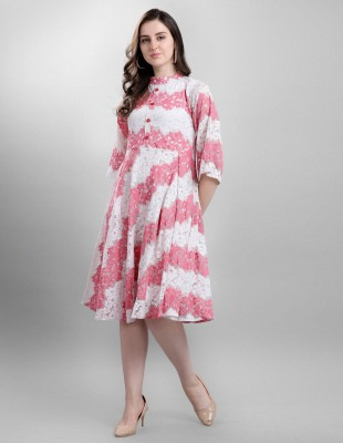 Selvia Women Fit and Flare Pink, White Dress