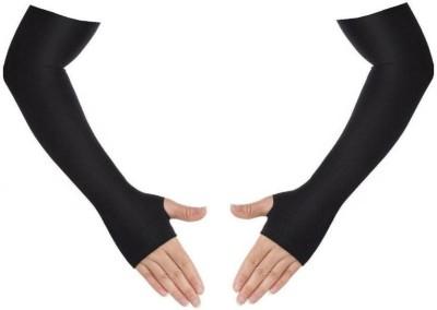Trimanav Nylon Arm Sleeve For Girls(Free, Black)