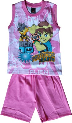 ELK Boys Casual T-shirt Trouser(Pink)  available at flipkart for Rs.290