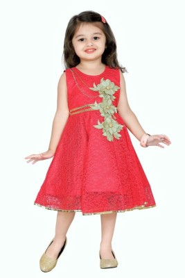 Aarika Girls Midi/Knee Length Party Dress(Red, Sleeveless) at flipkart