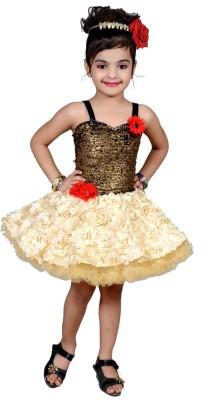 Aarika Girls Mini/Short Party Dress(Beige, Sleeveless)