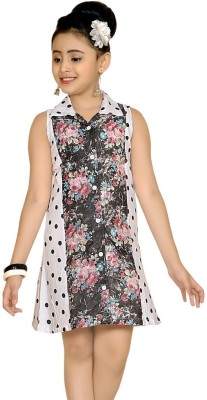 Abhira Girls Midi/Knee Length Party Dress(White, Sleeveless)