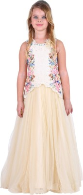 Cutecumber Girls Maxi/Full Length Party Dress(Multicolor, Sleeveless) at flipkart