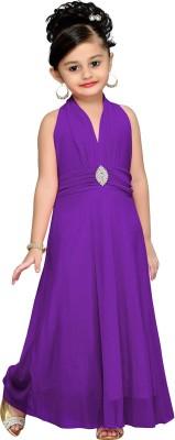 Aarika Girls Maxi/Full Length Party Dress(Purple, Sleeveless) at flipkart