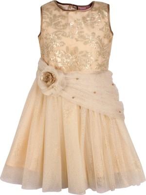 Cutecumber Girls Midi/Knee Length Party Dress(Multicolor, Sleeveless)