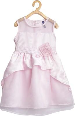 Yk Girls Midi/Knee Length Casual Dress(Pink, Sleeveless) at flipkart