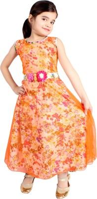 Delhiite Girls Maxi/Full Length Casual Dress(Orange, Sleeveless)