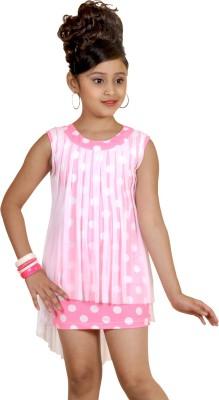 Abhira Girls Mini/Short Party Dress(Pink, Sleeveless)