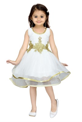 Aarika Girls Midi/Knee Length Party Dress(White, Sleeveless) at flipkart