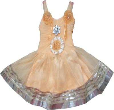Kraft10 Girls Midi/Knee Length Party Dress(Orange, Sleeveless)