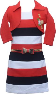Sky Heights Girls Midi/Knee Length Party Dress(Red, Sleeveless)