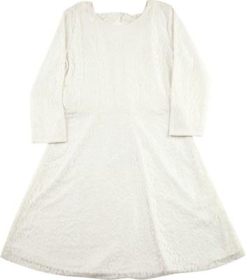Chemistry Girl Girls Midi/Knee Length Casual Dress(White, Full Sleeve) at flipkart