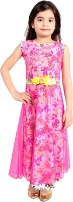 Delhiite Girls Maxi/Full Length Casual Dress(Pink, Sleeveless) at flipkart