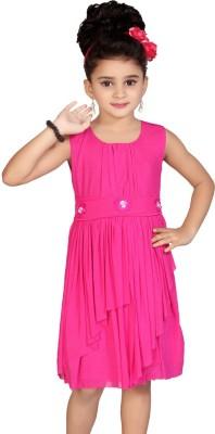 Abhira Girls Midi/Knee Length Party Dress(Pink, Sleeveless)