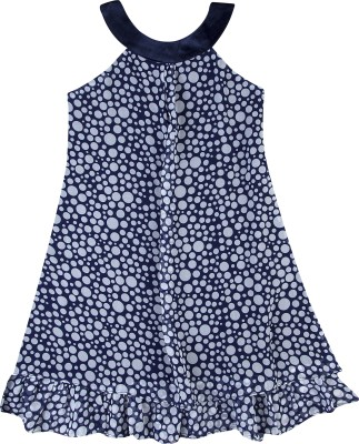 Hunny Bunny Girls Mini/Short Casual Dress(Dark Blue, Sleeveless)