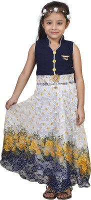 Crazeis Girls Midi/Knee Length Party Dress(Blue, Sleeveless) at flipkart