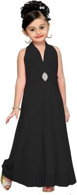 Aarika Girls Maxi/Full Length Party Dress(Black, Sleeveless) at flipkart