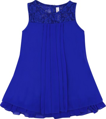Hunny Bunny Girls Mini/Short Casual Dress(Blue, Sleeveless)