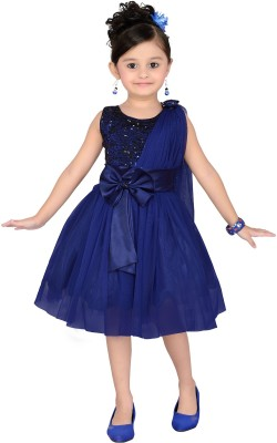 Aarika Girls Midi/Knee Length Party Dress(Blue, Sleeveless)