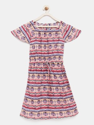 Yk Girls Midi/Knee Length Casual Dress(Pink, Half Sleeve) at flipkart