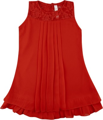 Hunny Bunny Girls Mini/Short Casual Dress(Red, Sleeveless)