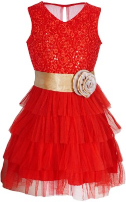 Naughty Ninos Girls Midi/Knee Length Party Dress(Red, Sleeveless)