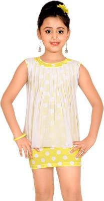 Abhira Girls Mini/Short Party Dress(Yellow, Sleeveless)