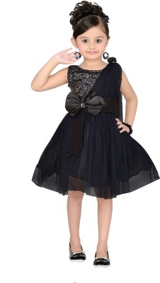 Aarika Girls Midi/Knee Length Party Dress(Black, Sleeveless)