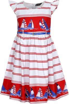 Bella Moda Midi/Knee Length Casual Dress(White, Half Sleeve)