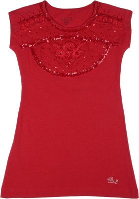 Elle Kids Girls Mini/Short Casual Dress(Red, Half Sleeve) at flipkart