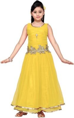 Aarika Girls Maxi/Full Length Party Dress(Yellow, Sleeveless) at flipkart