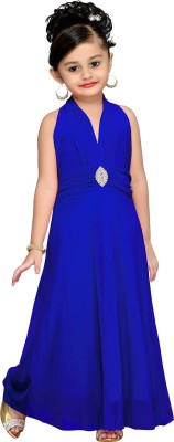 Aarika Girls Maxi/Full Length Party Dress(Blue, Sleeveless) at flipkart
