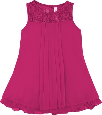 Hunny Bunny Girls Mini/Short Casual Dress(Pink, Sleeveless)