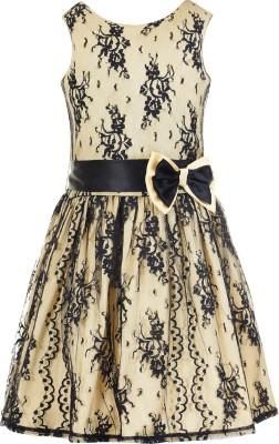 Naughty Ninos Girls Midi/Knee Length Party Dress(Pink, Sleeveless)