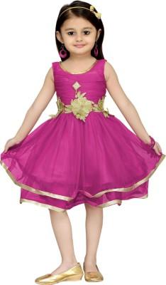 Aarika Girls Midi/Knee Length Party Dress(Pink, Sleeveless) at flipkart