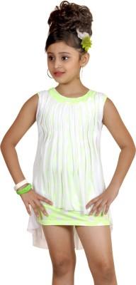 Abhira Girls Mini/Short Party Dress(Green, Sleeveless)