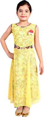 Delhiite Girls Maxi/Full Length Casual Dress(Yellow, Sleeveless) at flipkart