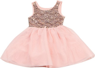 The Children's Place Girls Midi/Knee Length Casual Dress(Pink, Sleeveless) at flipkart